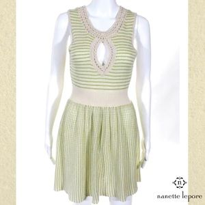 NANETTE LEPORE Olive/Ivory Crochet Stripe Dress